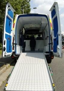Folding van ramp in the back of a van