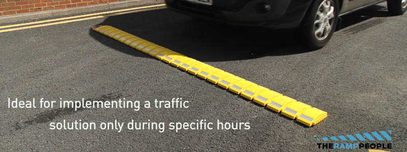 Our portable speed bumps make great traffic calming solutions for schools and events when a speed bump is only necessary for times of the day or certain days of the year.