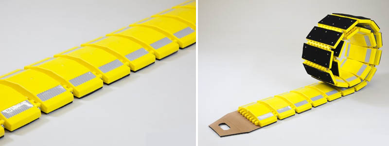 Our portable speed bumps are made of a flexible interlocking system that can easily be rolled up and stored away for temporary and portable use.