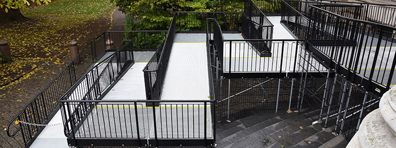 Disabled access ramps building regulations can sometimes involved complex multi-level solutions