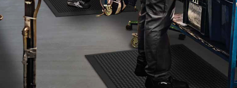 Anti fatigue mats can also help reduce slips, trips and falls in the workplace