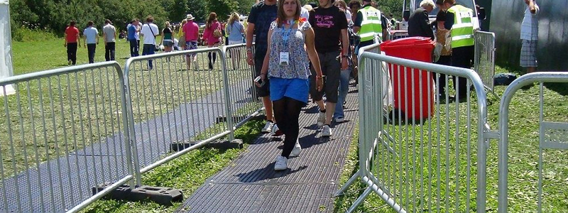 Ground protection mats are used in a wide range of situations including festivals