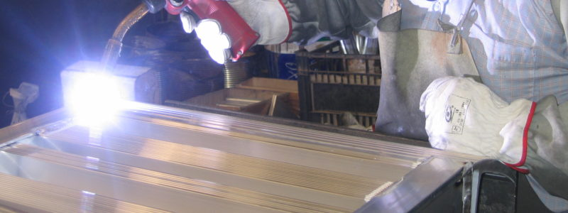 welding a custom built a loading ramps