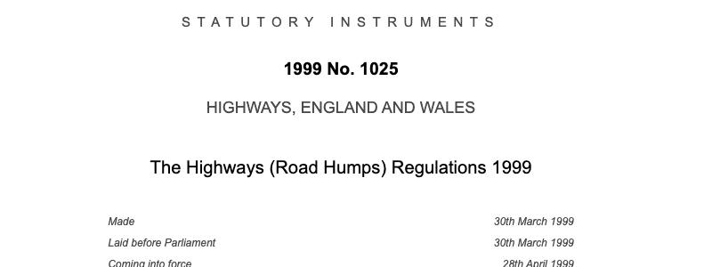 Highways Rod Humps Regulations 1999