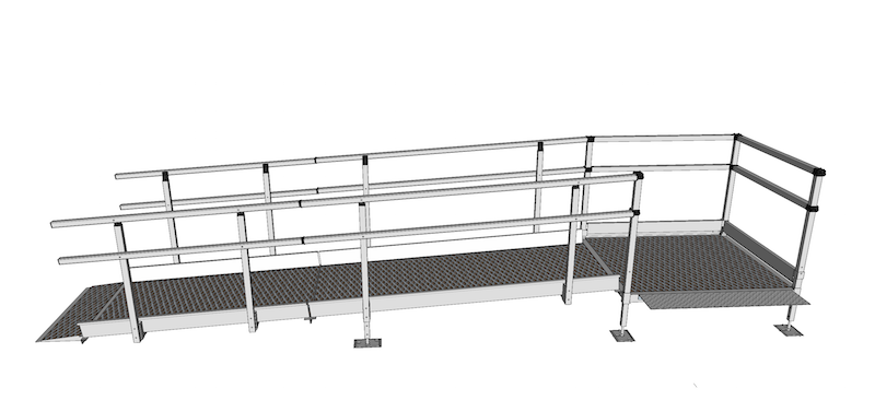 1100mm Wide Modular Ramp Kits Double Handrails