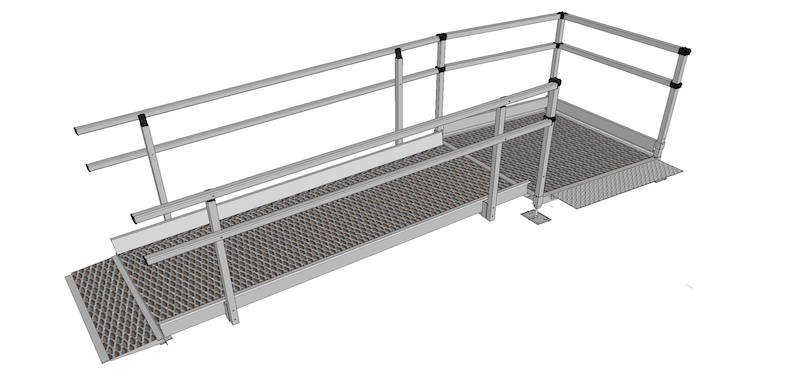 1500mm Wide Modular Ramp Kits Double Handrails.