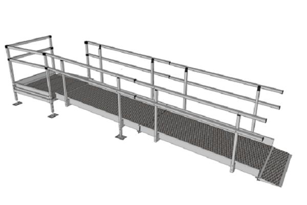 1100mm Wide Modular Ramp Kits Double Handrails