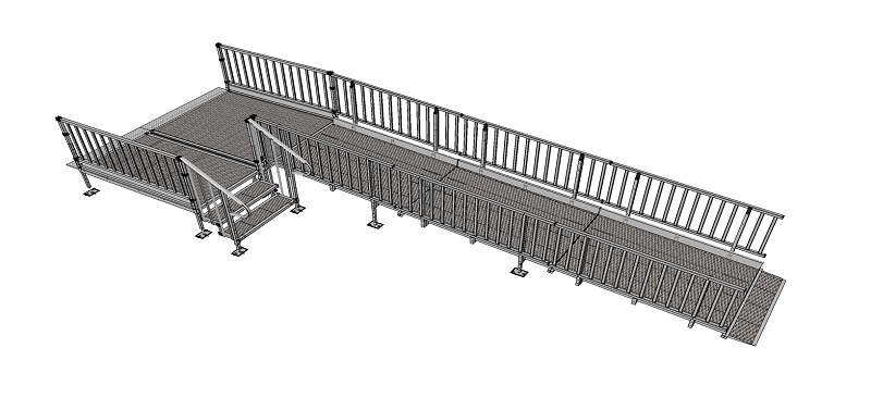 1100mm wide Modular Ramp Kits Balustrade Handrails