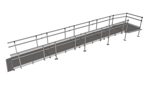 Modular Kit with Platform and Double Height Handrails (1500mm x 7600mm long)