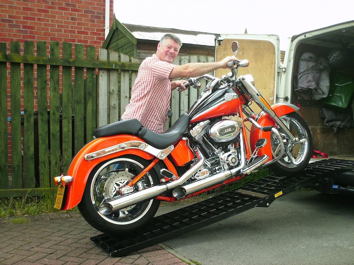 Motorbike Ramp Motorcycle Aluminium black Ramp Heavy Duty max folding 680 kg