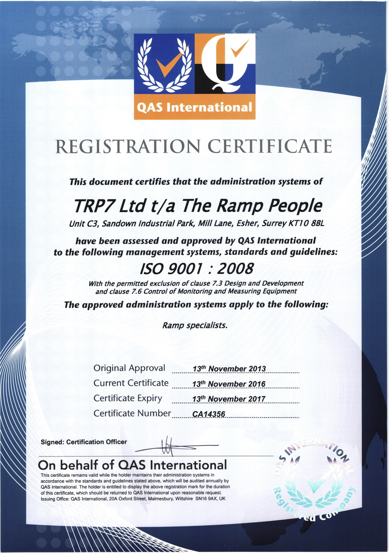 ISO 9001:2008 Certificate 2016/17